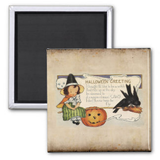 HALLOWEEN VINTAGE GREETING 2 INCH SQUARE MAGNET