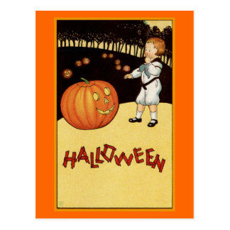 """""""Halloween"""" Vintage Illustration Postcard"""