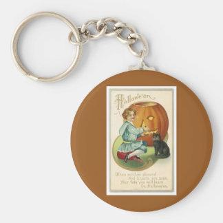 Halloween Vintage Jack O'Lantern Basic Round Button Keychain