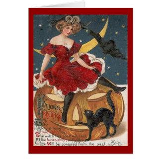 Halloween Vintage Lady in Red on Jack o' Lantern Card