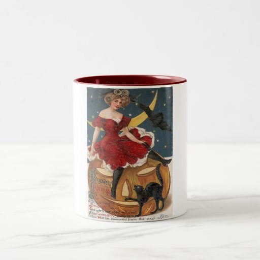 Halloween Vintage Lady in Red on Jack o' Lantern Two-Tone Coffee Mug