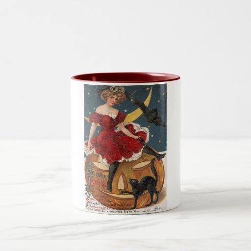 Halloween Vintage Lady in Red on Jack o' Lantern Two-Tone Coffee Mug