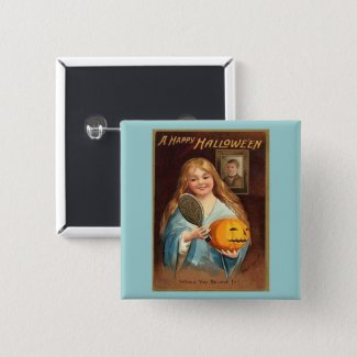 Halloween Vintage Lady With Mirror Button