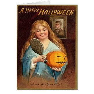 Halloween Vintage Lady With Mirror Card