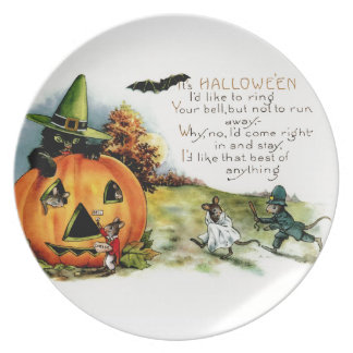 Halloween Vintage Postcard Art Melamine Plate