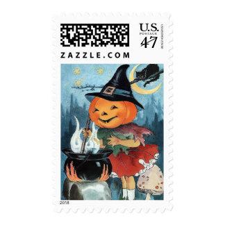 Halloween Vintage Pumpkin Witch Custom Postage