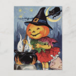 "Halloween Vintage Pumpkin Witch MoonPostcard Holiday Postcard<br><div class=""desc"">This adorable Halloween postcard has a cute vintage illustration of a girl fall witch stirring a cauldron with a black cat and a crescent moon in the background.</div>"