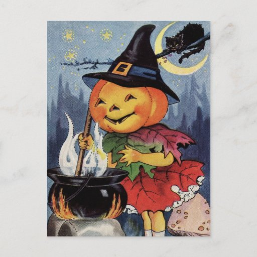 Halloween Vintage Pumpkin Witch MoonPostcard Holiday Postcard