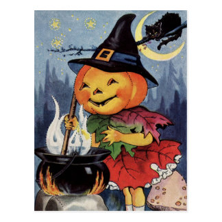 Halloween Vintage Pumpkin Witch MoonPostcard Postcard