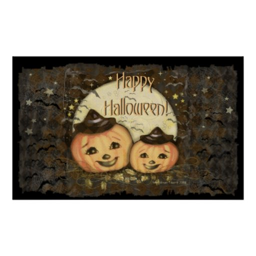 Halloween Vintage Pumpkins Art Poster