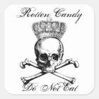 Halloween vintage skull & crossbones candy treat square sticker