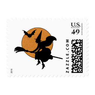 Halloween Vintage Witch Flying Broom Sihouette Postage