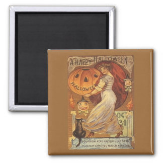 Halloween Vintage Woman and Jack o' Lantern 2 Inch Square Magnet