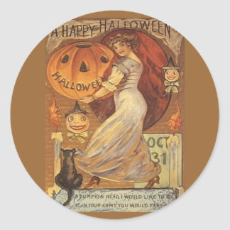Halloween Vintage Woman and Jack o' Lantern Classic Round Sticker