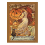 Halloween Vintage Woman and Jack o' Lantern Post Card