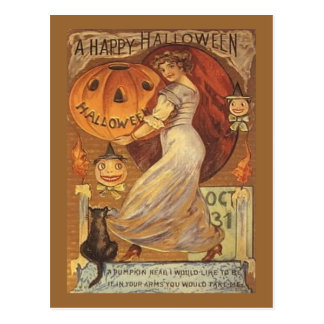 Halloween Vintage Woman and Jack o' Lantern Postcard