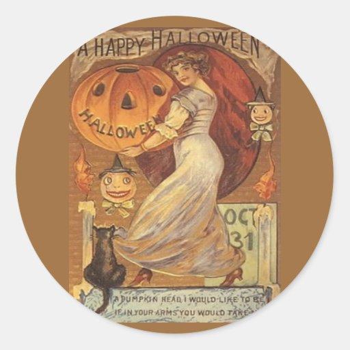 Halloween Vintage Woman and Jack o' Lantern Stickers