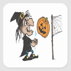 Halloween Volleyball Square Sticker at Zazzle