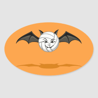 Halloween Volleyball Vampire Bat Oval Sticker