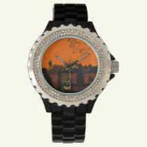 Halloween,watch,cat,dog,pumpkin,patch Wrist Watch