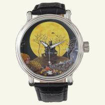 Halloween,watch,ghosts,graveyard,cats,witch Wrist Watch