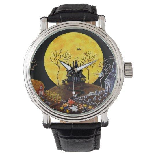 halloweenwatchghostsgraveyardcatswitch wrist watch