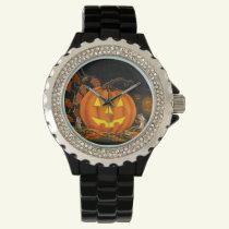 Halloween,watch,Jack-O-Lanterns,chipmunks,autumn Wrist Watch