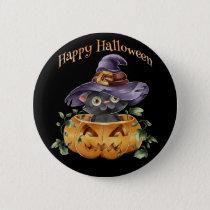 Halloween - Watercolor Cute Kitten in Pumpkin Button