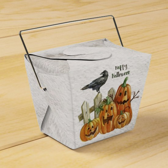 Halloween Watercolor Happy Pumpkins Favor Box