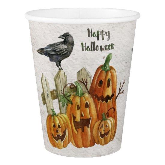 Halloween - Watercolor Happy Pumpkins Paper Cup
