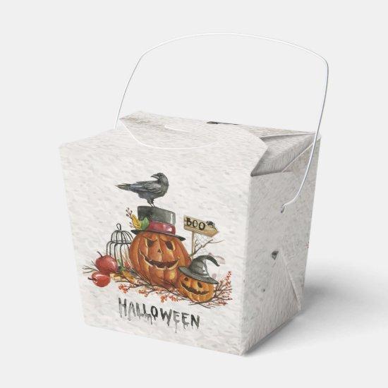 "Halloween Watercolor Pumpkin Scene ""Boo"" Favor Box"