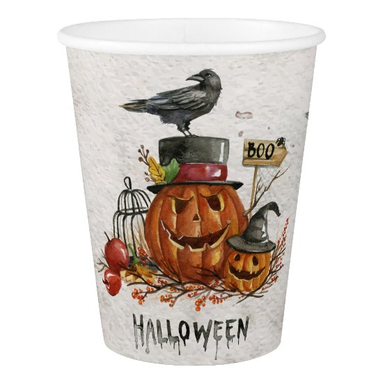 Halloween - Watercolor Scary Pumpkins Paper Cup