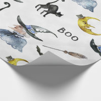 Halloween - Watercolor Witch - Cat - Moon Wrapping Paper