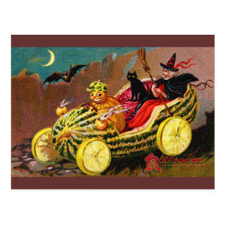 Halloween Watermelon Coach Postcard