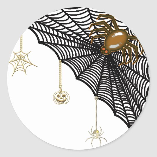 Halloween Web Classic Round Sticker