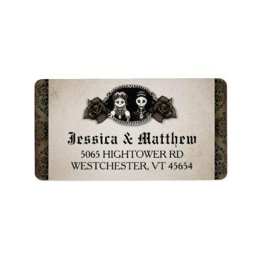 Halloween Themed Halloween Wedding Antique Skeletons Cameo Roses Label