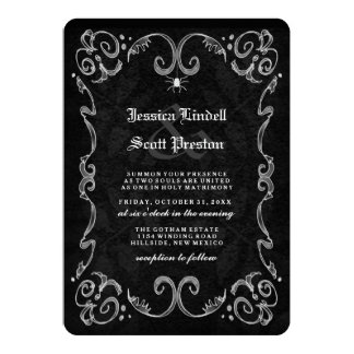 Halloween Wedding Black Gothic NAMES ON BACK Invitation