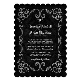 Halloween Wedding Black Gothic RECEPTION ON BACK Invitation