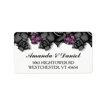 Halloween Themed Halloween Wedding Black Purple Roses Address Label