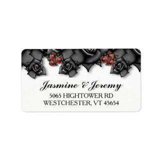 Halloween Wedding Black Red Roses Address Labels