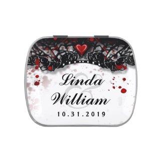 Halloween Wedding Black White Blood Splatter Names