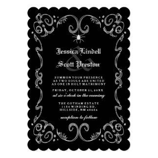 Halloween Wedding - Black & White Gothic Scroll 5x7 Paper Invitation Card