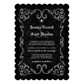 Halloween Wedding Black White Gothic STRIPED BACK Invitation