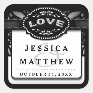 Halloween Wedding Black White Lace LOVE Wedding
