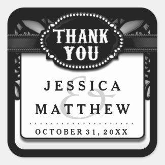 Halloween Wedding Black White Lace Thank You