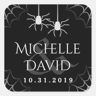 Halloween Wedding Black White Spiders Square Label