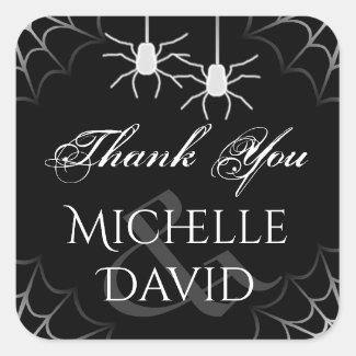 Halloween Wedding Black White Spiders Thank You