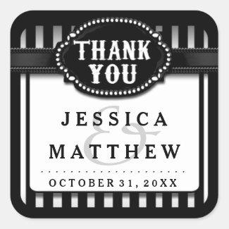 Halloween Wedding Black White Stripe Thank You