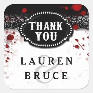Halloween Wedding Blood Splatter Thank You Label