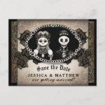 Halloween Wedding Brown Antique Skeletons Announcement Postcard
